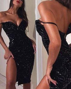 Shop Black Sequin V-Neck Slit Dress right now, get great deals at joyshoetique Cheap Prom Dresses, Tight Dresses, Homecoming Dresses, Sexy Dresses, Cute Dresses, Evening Dresses, Fashion Dresses, Short Black Dresses, Hottest Dresses