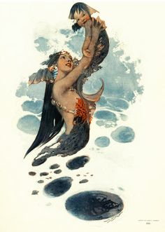 *Mermaid with merbaby~~1911 Collier's magazine cover