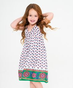 Look at this White & Green Paisley Floral Dress - Toddler & Girls on #zulily today!