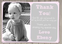 Pink Girls Thank You Card / Printable by InvitaitonsByLittleP