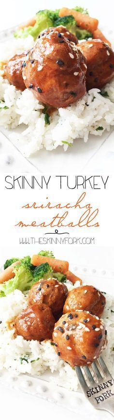 Skinny Turkey Sriracha Meatballs (Crock Pot) - Perfect as a meal or even for game day! Easy and full of flavor! TheSkinnyFork.com