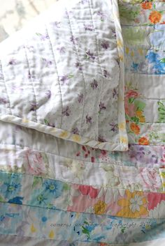 Cameras and Chaos: the fastest quilt top ever.....  <3 <3 <3 <3 <3   BEAUTIFUL VINTAGE SHEETS QUILT   <3 <3 <3 <3 <3