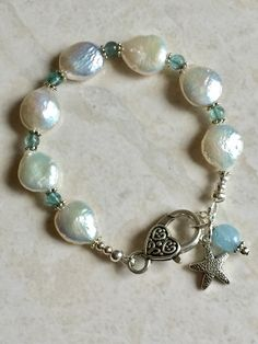 Coin pearl and apatite bracelet