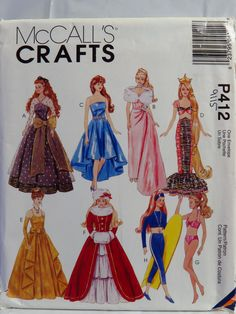 """McCall's 0412 Clothes for 11½"""" Fashion Dolls Barbie Sewing Pattern"""