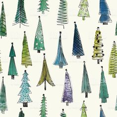 Watercolor Christmas Trees seamless pattern royalty-free stock vector art