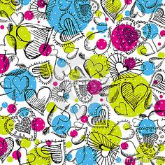 Valentines background with hand drawn hearts,  illustration