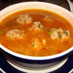 Meatball) Soup Recipe - This recipe tastes just like the Albondigas (Spanish Meatball Soup) that I enjoyed at the El Minuto restaurant in Tucson, Arizona.Enjoy the Ride Enjoy the Ride may refer to: Authentic Mexican Recipes, Mexican Food Recipes, Soup Recipes, Cooking Recipes, Healthy Recipes, Ethnic Recipes, Hominy Recipes, Mexican Desserts, Cooking Tips