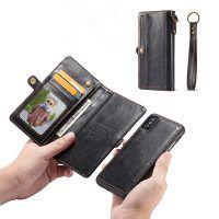 Peňaženkové magnetické púzdro pre iPhone X v čiernej farbe,. Apple Iphone, Leather Case, Mobiles, Iphone Cases, Wallet, Apple Case, Pocket Wallet, Suitcase, Iphone Case Covers