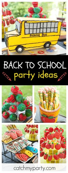 Go back to School with a fun birthday party! The school bus birthday cake is awesome!! See more party ideas and share yours at CatchMyParty.com