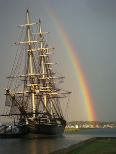 Tall ship under the rainbow.