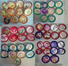 My Little Pony: Friendship is Magic Bottle Caps. What I have left from selling at a convention and from home.  Apple Jack, Fluttershy, Pinkie Pie, Rainbow Dash, Rarity and Twilight Sparkle!