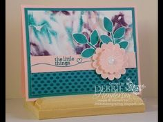 YouTube Video with the Shaving Cream Technique and Stampin' Up! Crazy About You & Hello Life. Debbie Henderson, Debbie's Designs.