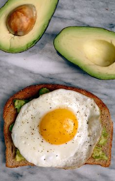 Avocado Toast With an Egg on Top: Avocado, Salt, Pepper, Fried Egg