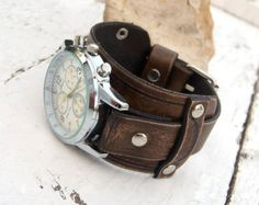 Mens Leather watch Brown leather Wrist Watch Leather by Jullyet