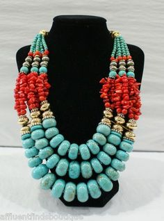 MASHA ARCHER Turquoise & Red Coral Necklace #Turquoise #jewelry