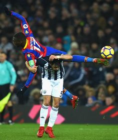 Christian Benteke of Crystal Palace and Claudio Yacob of West Bromwich Albion colide during the 0 v 0 draw between West Bromwich Albion and Crystal Palace at The Hawthorns.West Brom attempted 20 shots, their highest shot tally in a Premier League game since December 2015 against Newcastle (22).