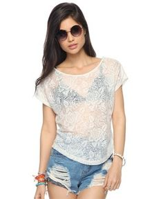 Boxy Distressed Rose Top