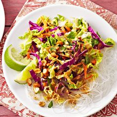 Creamy peanut butter, honey, and soy create a sweet dressing for this cabbage-carrot salad. To bump up the protein in this dish, top the salad with leftover grilled chicken or tofu./