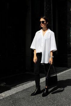 casual minimal: Acne Studios blouse, Jensen Boots, Moss Copenhagen bag.