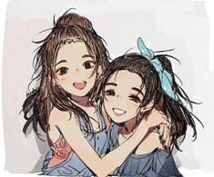 Cricket For Arts And Crafts Syafiqah♥ Fanarts Anime, Manga Anime, Anime Chibi, Anime Best Friends, Friend Anime, Anime Art Girl, Manga Girl, Tanaka Kou, Anime Friendship