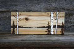 Across The Meadow - Wood burned Landscape Art on Wood TwigsandBlossoms Etsy