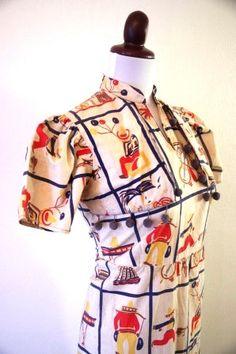 1940s Novelty Print Fiesta Dress with Pom Pom Fringe