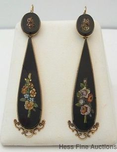 Ultra Long Dangle Micro Mosaic Onyx Antique 14k Gold Pierced Earrings in Jewelry & Watches, Vintage & Antique Jewelry, Fine | eBay