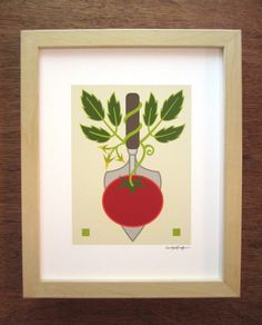 Trowel Tomato 8x10 giclee print by CindyLindgren on Etsy