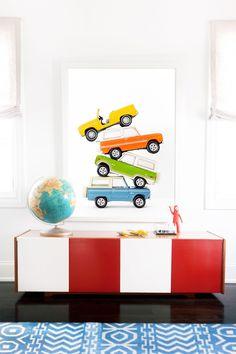 Car Series - Yellow Orange Green Blue Pileup Art for boys bedroom kids playroom man cave on lesleemi