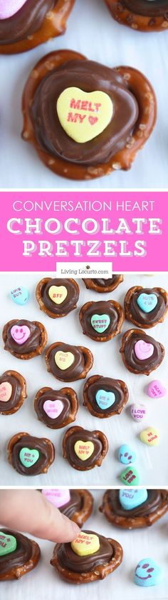 Valentine's Day Chocolate Pretzels are perfect for school parties or gifts! Kids will love picking out their favorite conversation heart candy saying. This no bake recipe makes a delicious salty, crunchy chocolate caramel dessert. ~ http://LivingLocurto.com
