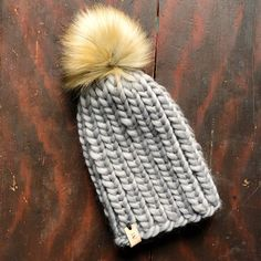 The Lee Toque Fox Fur, Hand Stamped, Knitted Hats, Winter Hats, Wool, Knitting, Leather, Tricot, Breien