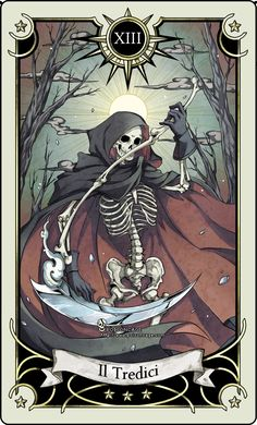 Tarot card 13- the Death by rann-poisoncage.deviantart.com on @deviantART. 2D styled death with human skeleton, a scythe bade of bones and a cape. Tarot card