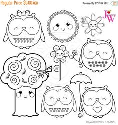ON SALE Kawaii Owls Cute Digital Stamps Spring by JWIllustrations