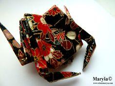 Black Origami Crab Brooch  with red flowers Animal by MarysaArt