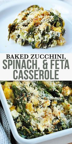 Baked Zucchini, Spinach, and Feta Casserole - this dish packs a hearty dose of vegetables, so healthy and flavour. Made with parmesan and low-fat feta. This recipe also utilizes whole-wheat bread crum Vegetable Recipes Easy Healthy, Healthy Vegetables, Veggies, Low Fat Vegetarian Recipes, Healthy Vegetarian Dinner Recipes, Healthy Delicious Recipes, Healthy Dishes, Casseroles Healthy, Keto Recipes