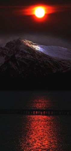 Red Moon over the mountains