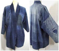 Antique Boro Peasant Jacket. Japanese Indigo Noragi. Farming Wear.