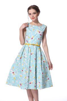 Mint Blossom Boat Neck Vintage Dress
