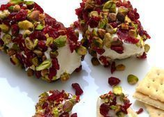 Goat Cheese with Cranberries & Pistachios. Would be incredible with Carmelis Goat Cheese from Kelowna, BC! Appetizer Salads, Great Appetizers, Appetizer Recipes, Snack Recipes, Cooking Recipes, Appetizer Ideas, Think Food, Love Food, Mezze