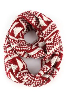 """An infinity scarf featuring tribal print. Made of 100% acrylic. Approx. length 26"""", width 12"""". Imported."""