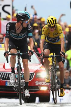 #TDF2016 #WoutPoels of Netherlands and Team Sky leads yellow jersey race leader Chris Froome of Great Britain and Team Sky over the finishing line during...