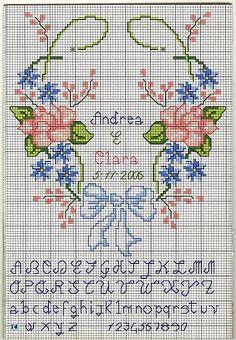 Cuscino portafedi colombe rose punto croce uncinetto schemi gratis hobby - Cuscino portafedi punto croce ...