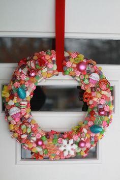 Cute idea for a teacher's gift...dollar store candy glued to wreath foam, easy!!