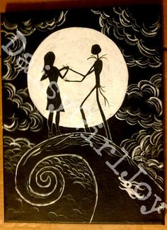 Nightmare Before Christmas wedding guest signing.  They can sign right in the moon.