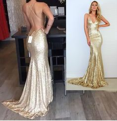 V Neck Spaghetti Straps Gold Sequin Floor Length Sexy Mermaid Formal Occasion…