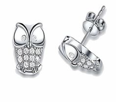 Crystal Animal Owl Ear Stud Earrings
