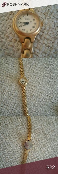 Guess Watch Frosted Gold Bracelet Watch.  Like new condition. Needs Battery Guess Jewelry