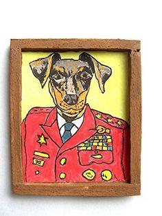 OOAK 1/12 Escala Casa De Muñecas Miniatura Pintura - ' Perros de Guerra ' - Manchester Terrier Pintura - Stormin' Manchester Terrier