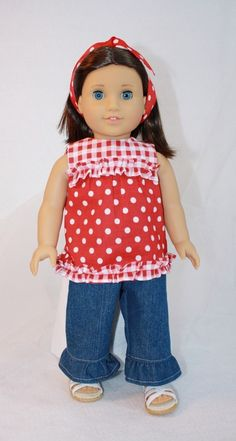 Red Check and Polka Dot Top and Jeans Fits by CjsLittleBoutique, $15.00
