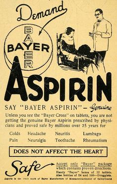 "Soo the reading got me looking for advertisements that emphasise brand name by asking someone to only look for the brand name ""or else the product won't be effective"". This is a vintage aspirin ad is advertising Bayer aspirin. It is also saying that no other brand is safe or effective."